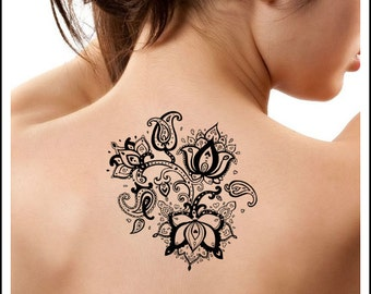 Temporary Tattoo 1 Flower Tattoo Ultra Thin Lotus Fake Tattoo Body Art
