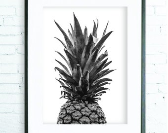 Kitchen Wall Decor, Pineapple Print, Wall Art, Black and White Print, Tropical Art, Kitchen Art, Printable, Minimalist, Pineapple Poster