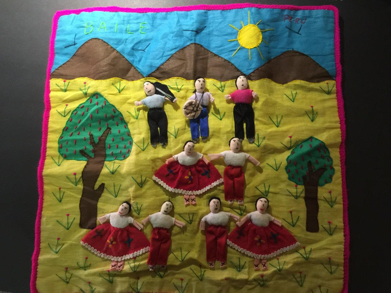Vintage PERUVIAN Folk Art Applique Tapestry Wall Hanging
