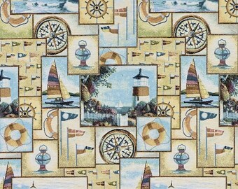 tapestry fabric - nautical fabric - lighttowerfabric - jacquard woven fabric - quilting fabric - upholstery fabric - floral fabric - TF-9005