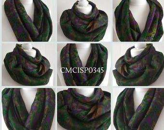 Emerald Magenta Silk Sari Scarf - Silk Sari Infinity Scarf - Recycled Sari Scarf - Indian Silk Infinity Scarf - Upcycled Sari - CMCISP0345