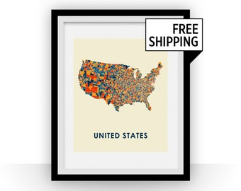United States Map Print - Full Color Map Poster