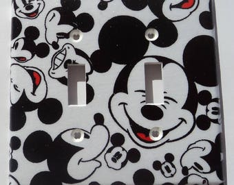 Mickey Mouse Faces Print Double Toggle Light Switch Plate Cover