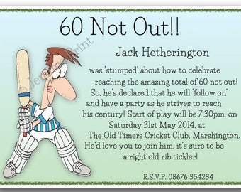 Printed Personalised Birthday Party Invitations 18th 21st 30th 40th 50th 60th 65th 70th 80th 90th cricket male funny x10 with envelopes