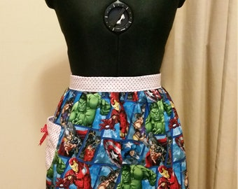 Australian handmade vintage half apron Avengers print with pocket and bow