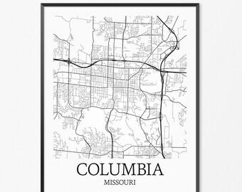 Columbia Map Columbia Art Columbia Print Columbia MO - Columbia mo map