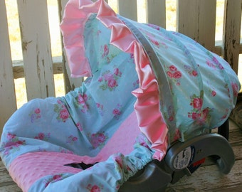 polka dots with aqua and pink flowers with baby pink minky infant car seat cover and hood cover with pink satin ruffle