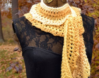 Light Yellow Crochet Scarf Buttercream Ruffle Scarf