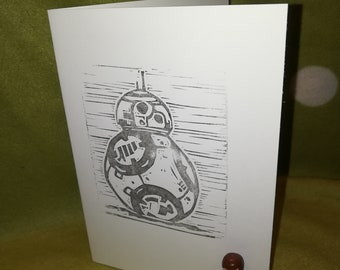 Star Wars BB8 droid card. Blank greetings card.