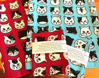 Cat Japanese Hand Dyed Tenugui,Hand towel, tea towel, handkerchief, bandana, wrapping, materials for sewing and crafting, Kitchen linens