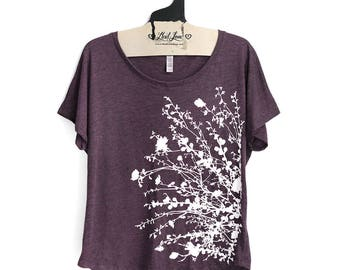 SALE Small-  Tri-Blend Vintage Purple Dolman Top with Flower Branch Screen Print
