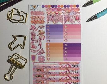 Mermaid Mini Happy Planner weekly kit, weekly planner kit, weekly planner stickers, planner accessories, mermaid planner supplies
