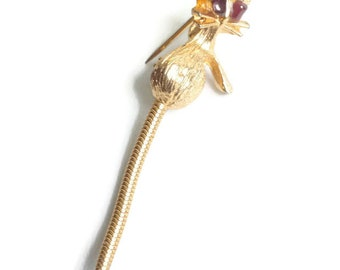 Kitty Cat Pin Long Movable Tail Gold Tone Vintage Brooch Feline Figural Brooch
