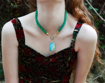 Egyptian Scarab Amulet Rope Choker / Turquoise Carved Stone / Egyptian Revival Statement Jewelry