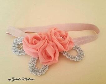 Baby Flower Headband- Blush Flowers Headband - Pink Flowers Headband - Stretchy Headband