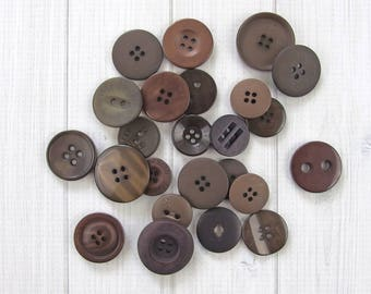 Mixed Brown Buttons, Assorted Buttons, Craft or Sewing Buttons, Bulk Buttons, Button Crafts, Coffee Bean, Dark Brown