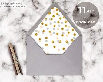 Printable Confetti Envelope Liner Template: DIY Wedding Envelope Template, Any Size Liner, Confetti, Download PDF A9, A7, A6, A2, 4 Bar -020