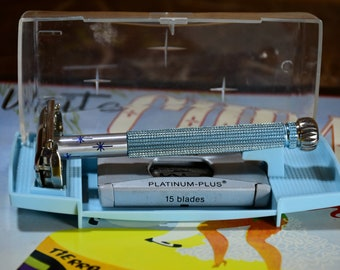 Beautiful 1966 L1 Blue Lady Gillette Double Edge Safety Razor in Original Case with Gillette Platinum Plus Dispenser and FREE Sampler