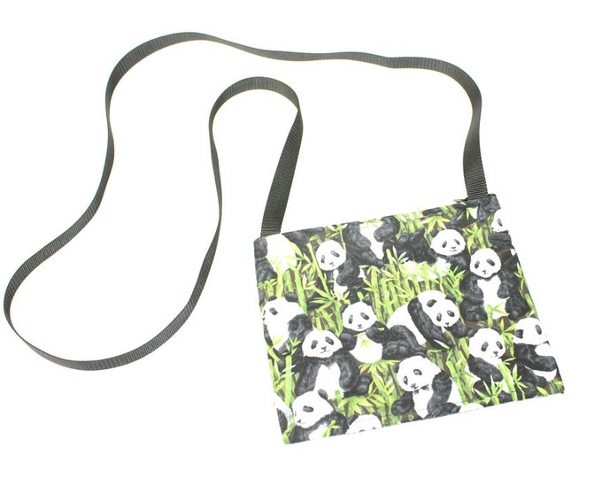 Mini crossbody bag - Panda Time fabric  perfect for travel or a night out!
