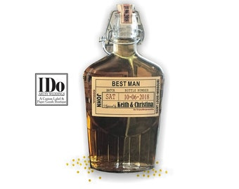 Will You Be My Groomsman Liquor Flask Labels - Whiskey Labels Only - Thank You Groomsman Labels - Sized to fit your bottles