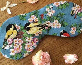 Sleep mask in Cotton blue bird fabric, padded eye mask
