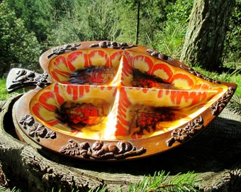 Treasure Craft Divided Leaf Nut Dish - #396 - Embossed Squirrels, Nuts, and Acorns
