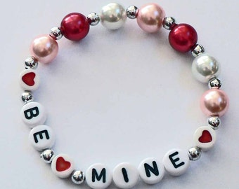 Personalized Valentine Children's Jewelry Name Bracelet great gift or Party Favor Infant Child Kid Adult Sizes VALENTINE'S DAY