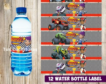 12 Blaze and The Monster Machines Water Bottle Label instant download Printable  Blaze and The Monster Machines Water Bottle Label