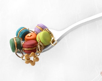 Golden Macaron Bracelet, Food Jewelry, Colorful Bracelet, Polymer Clay Food Bracelet,Macaroon Jewelry,Rainbow Bracelet,Kawaii Bracelet