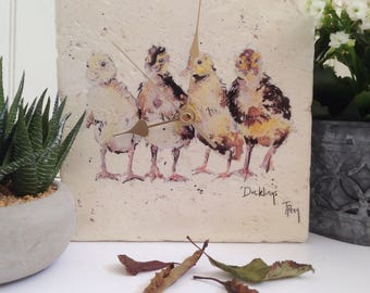 Duckling Wall Clock, Duck, Animal Clock, Time, Country, Stone Clock, Handmade, Art, Painting, Personalised, Home, Accessory, Kitchen, Animal