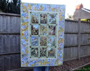 Flower Fairy quilt, green and yellow fairy quilt, girls quilt, new baby gift, fairy blanket, fairy bedding, fairy decor, flower fairies UK