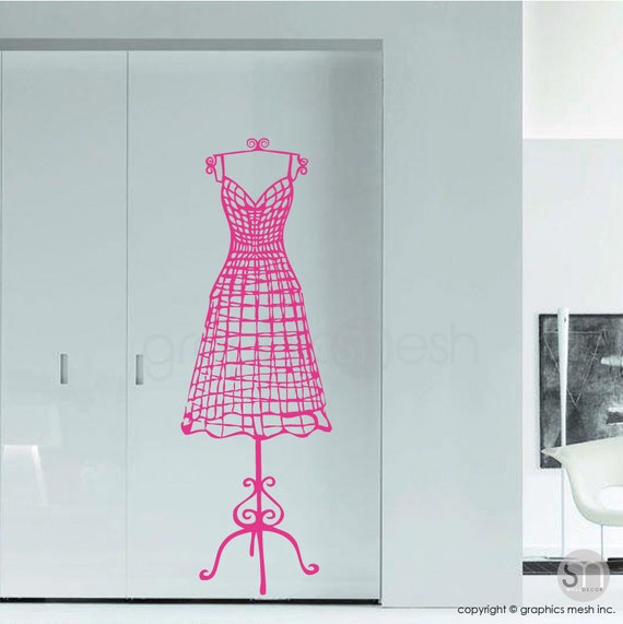 WALL DECAL wire like dress form Vinyl mannequin interior
