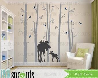 Birch Decal with Moose, 5 Birch decal set, birch tree set, Moose baby, Modern Nursery, Nursery decals, Baby Decals, Woodland theme