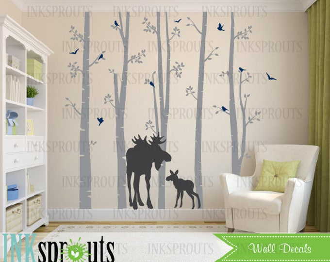 Featured listing image: Birch Decal with Moose, 5 Birch decal set, birch tree set, Moose baby, Modern Nursery, Nursery decals, Baby Decals, Woodland theme