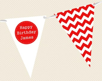 Personalised Birthday Bunting - Chevron in a variety of colours - Made in UK