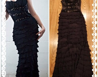 Vintage lip service gothic dress witch 90s goth Dark Legacy black gown corset
