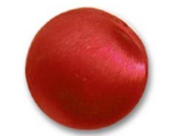 Satin red 14 mm diameter imitation pearls * 4