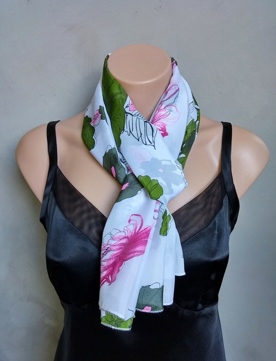 Floral White Green Pink Sheer Chiffon Scarf, Green Floral Scarf, Pink Floral Scarf, Floral Chiffon Scarf, White Floral Scarf