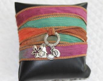 Green, purple brown ombre Silk Ribbon Bracelet