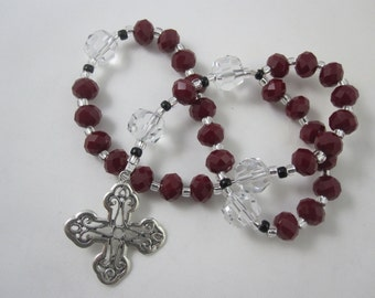 Red Velvet and Egyptian Crystal Prayer Beads with Sterling Silver Cross