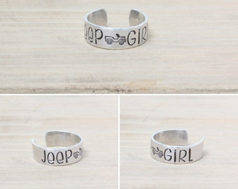 Jeep Girl Ring - Jeep Jewelry - Jeep Ring - Hand Stamped