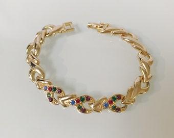 Vintage Fruit Salad Rhinestone Gold 80's Bracelet