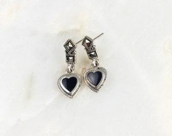 Vintage Sterling Marcasite Onyx Heart Earrings