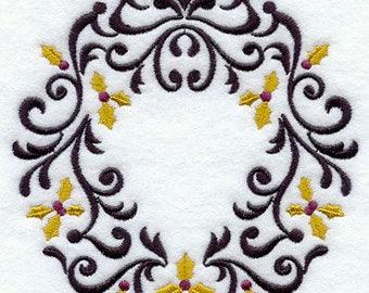 Christmas Wreath Towel - Holly Towel - Christmas Towel - Embroidered Towel - Flour Sack Towel - Hand Towel - Bath Towel - Fingertip - Apron