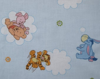 Fabric sky blue Vinnie the pooh bear pig tiger Donkey Cotton Fabric Kids Fabric Scandinavian Design Scandinavian Textile