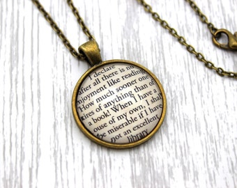 Jane Austen, 'I Declare After All There Is No Enjoyment Like Reading', Pride and Prejudice Quote Necklace or Keychain, Keyring.