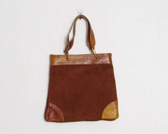 Sac à main en cuir Boho / Suède Cognac Vintage des années 70 & dessus cuir poignée sac à main