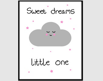 Sweet dreams little one, pink stars, wall decor, instant digital print download