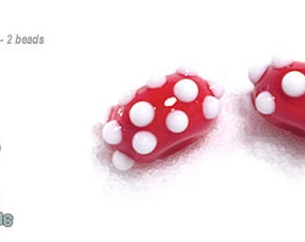 PAIRS 115 Lampwork Beads Handmade Paired Set of 2 Holiday Colors of Red White Polka Dots