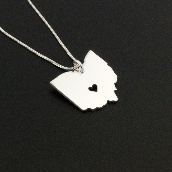 Ohio necklace sterling silver personalize engraved ohio state like this item aloadofball Gallery